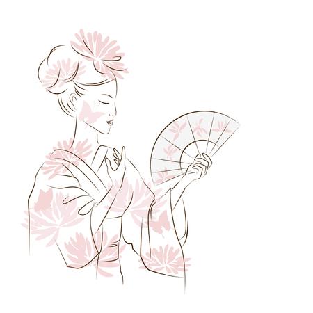 美しい芸妓。アジアの女性のファンと踊る。オリエンタル スタイルの絵画。手のオリエンタル美人の図を描画します。ベクトルは、白い背景で隔離