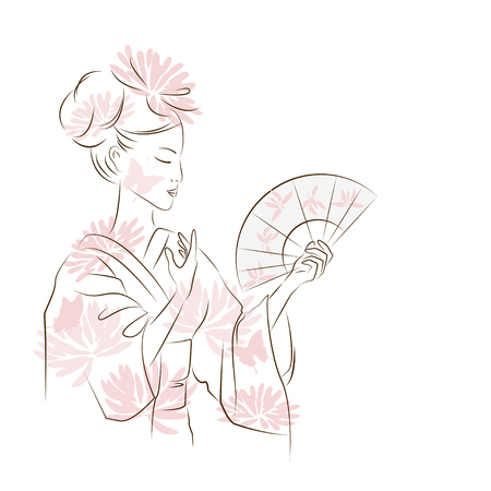 chinese ethnicity: Beautiful Geisha girl. Asian woman dancing with fan. Oriental style painting. Hand drawing illustration with beautiful oriental woman. Vector isolated on white background.