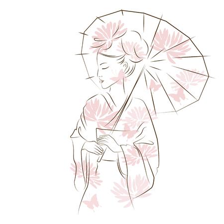 美しい芸妓。パラソルとアジアの女性。オリエンタル スタイルの絵画。手のオリエンタル美人の図を描画します。ベクトルは、白い背景で隔離。