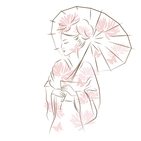 Beautiful Geisha girl. Asian woman with sun umbrella. Oriental style painting. Hand drawing illustration with beautiful oriental woman. Vector isolated on white background.