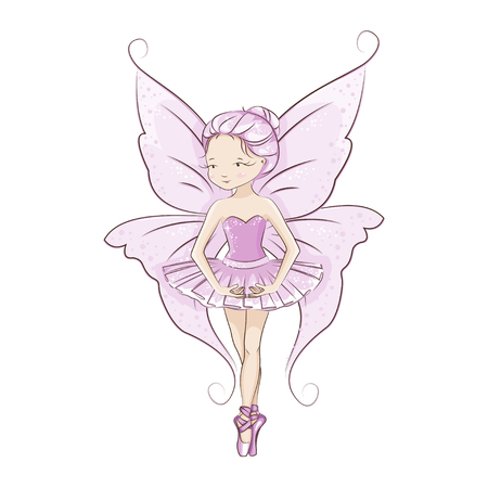 The beautiful little fairy.She is dancing in light, beautiful pink dress. Slender legs in ballet slippers, pointe shoes. Hand drawn illustration.
