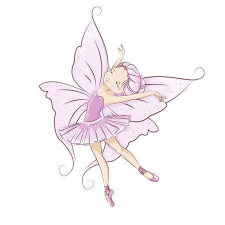 legends folklore: The beautiful little fairy.She is dancing in light, beautiful pink dress. Slender legs in ballet slippers, pointe shoes. Hand drawn illustration.