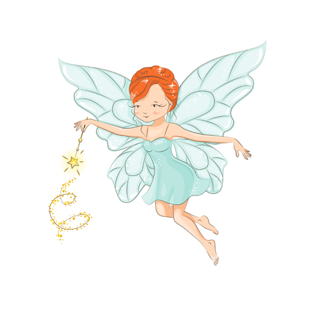 Cute little fairy flying. In her hand a magic wand that works wonders.