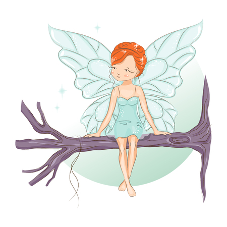 The little fairy sat down to rest on the tree branch. Stock Illustratie
