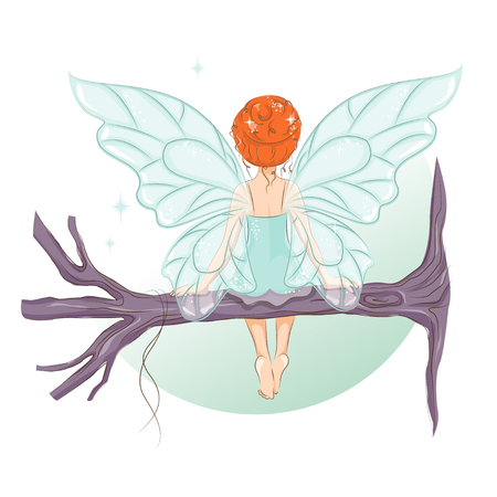 The little fairy sat down to rest on the tree branch. She is sitting with his back and dreaming.