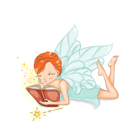 The little fairy is reading a magic book. She is studying magic. She has red hair. She is in a gentle, air dress. Hand drawn illustration isolated on white background.