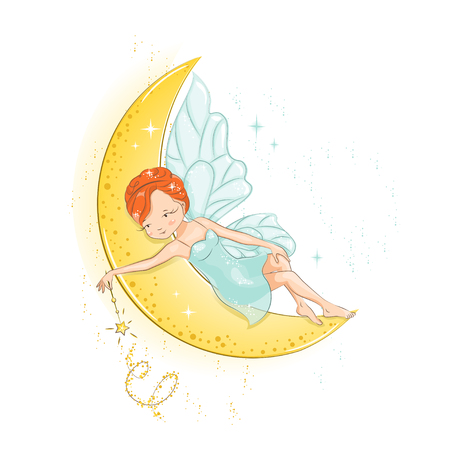 Fairy resting on the moon and she has a magic wand in her hand. She has red hair. She is in a gentle, air dress. Hand drawn illustration isolated on white background. Illustration