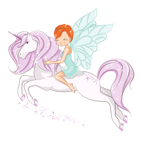 The little fairy sitting on the magical unicorn. She has red hair. She is in a gentle, air dress. Hand drawn illustration isolated on white background. Stock Illustratie