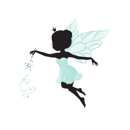 Silhouette of beautiful fairy.