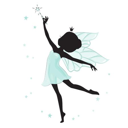 elf queen: Silhouette of beautiful fairy.