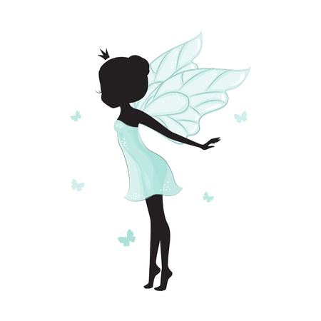 elf queen: Silhouette of beautiful fairy. She is ballerina and dancing