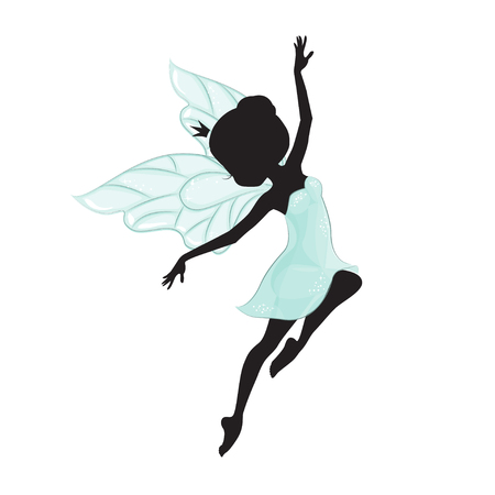 elf queen: Silhouette of beautiful fairy. She is flying. Illustration