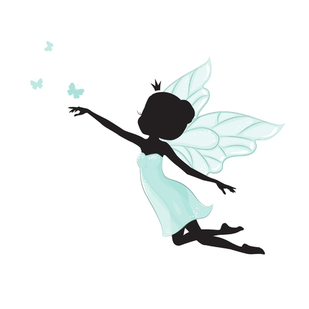 Silhouette of beautiful fairy. She is flying with butterfly.