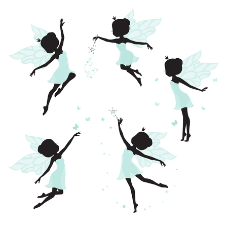 Set of silhouette of beautiful fairy. Set of silhouette of beautiful fairy.