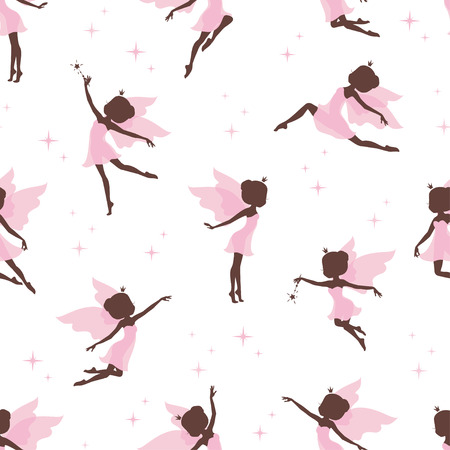 Seamless pattern with silhouettes of fairy. Vector illustration. Illustration
