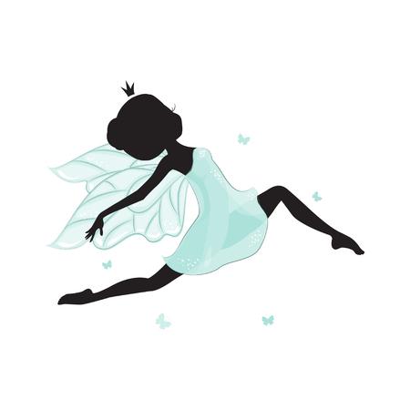 Silhouette of beautiful fairy. She is flying with butterfly. She is in a blue gentle, air dress. Hand drawn, isolated on white background. Illustration