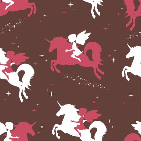 Seamless pattern with silhouette of fairy and unicorn. Retro seamless pattern. Hand drawn illustration.