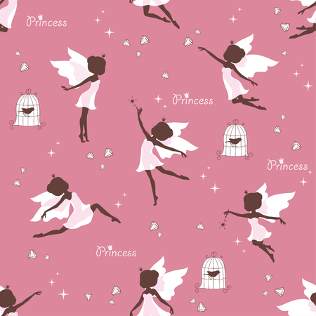 elf queen: Seamless pattern with silhouette of beautiful fairy, magical crystal and bird on pink background. Vector illustration.