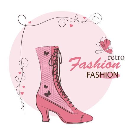 Retro Mode Frau Schuhe. Hand Zeichnung Illustration.