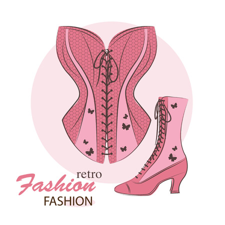 Retro illustration with fashion woman corset and shoes. Hand drawing illustration.