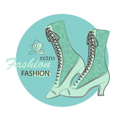 fashion shoes: Retro fashion woman shoes. Hand drawing illustration.