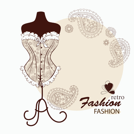 Retro illustration with silhouette of mannequin. The mannequin is wearing a magnificent corset which is embroidered with paisley ornament. Illustration