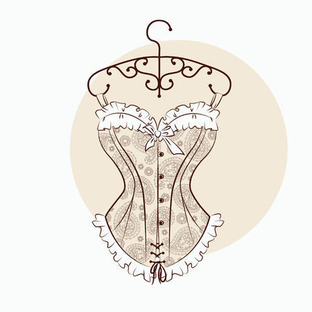 Vector illustration with magnificent corset which is embroidered with paisley ornament. Illustration