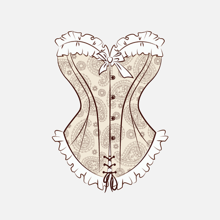 Vector illustration with magnificent corset which is embroidered with paisley ornament. Isolated