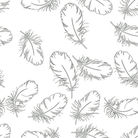 Pattern with silhouette with feather of swan. Black and white illustration of ballerinas. Retro seamless pattern. Hand drawn illustration.
