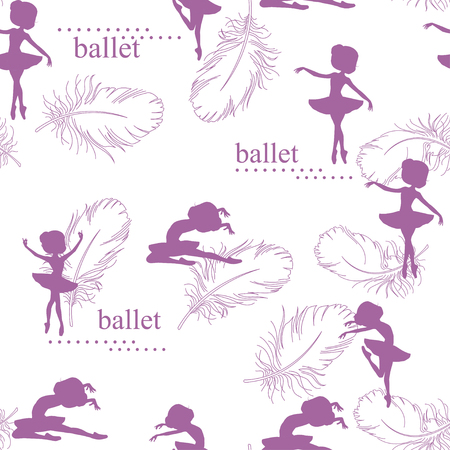 Pattern with silhouette of ballerinas and feather of swan Illustration