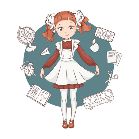 Cute little schoolgirl in russian school uniforms. Hand drawn illustration isolated on white background.