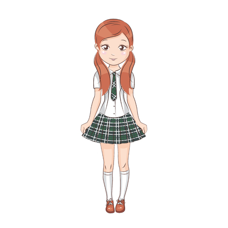 Smiling happy girl. She is in school uniform. Hand drawn illustration isolated on white background.