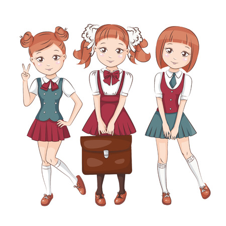 Cute little schoolgirls. Three girlfriends in school uniform. Isolated.