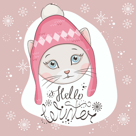 winter fashion: Christmas greeting card background design with illustration of cute kitten wearing a knitted hat with ornament. Hand drawing.