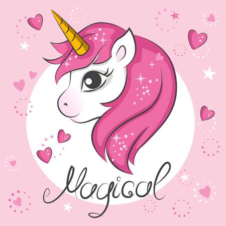 mythological character: Cute magical unicorn. Vector design on white background. Print for t-shirt. Romantic hand drawing illustration for children.