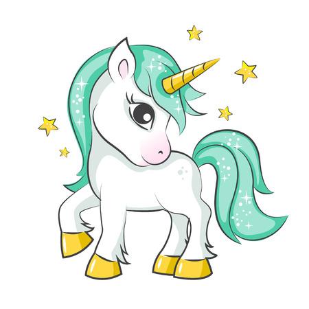 Cute magical unicorn. Vector design on white background. Print for t-shirt or sticker. Romantic hand drawing illustration for children. Stock Illustratie