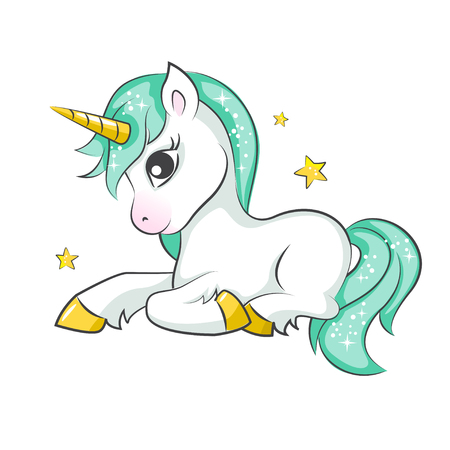 Cute magical unicorn. Vector design on white background. Print for t-shirt or sticker. Romantic hand drawing illustration for children. Ilustração