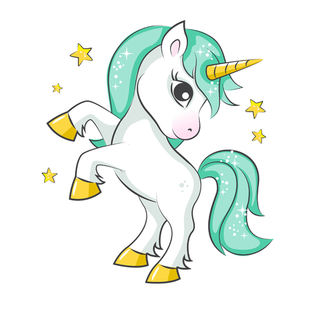 mythological character: Cute magical unicorn. Vector design on white background. Print for t-shirt or sticker. Romantic hand drawing illustration for children. Illustration