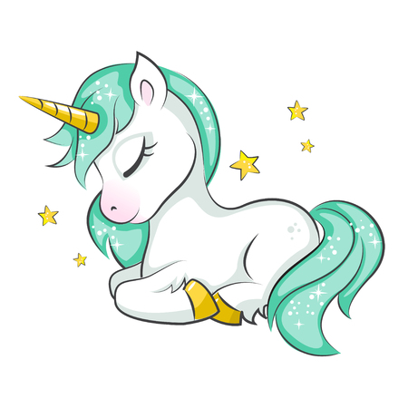 Cute magical unicorn. Vector design on white background. Print for t-shirt or sticker. Romantic hand drawing illustration for children. Vettoriali