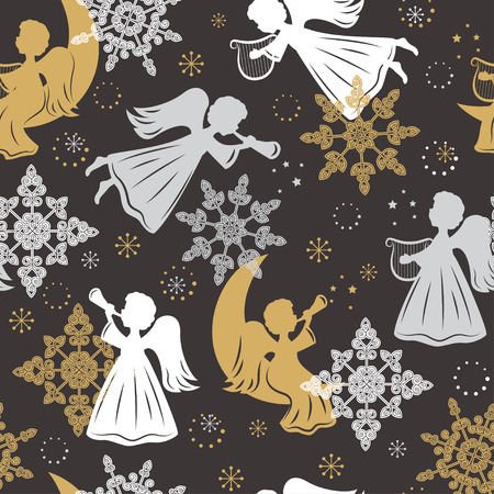 Seamless pattern with snowflakes and angels for Christmas packaging, textiles, wallpaper. Vector illustration. Illustration
