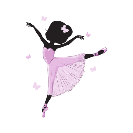 Silhouette of cute little ballerina in pink dress isolated on white background.
