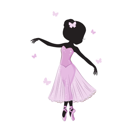 Silueta de la pequeña bailarina linda en el vestido rosado aislado en el fondo blanco. Foto de archivo - 87867843