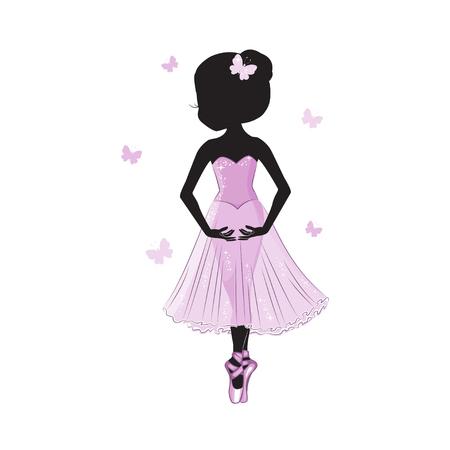 Schattenbild der netten kleinen Ballerina im rosa Kleid lokalisiert auf weißem Hintergrund.