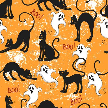 Halloween seamless pattern with ghost and black cat on dark orange background.