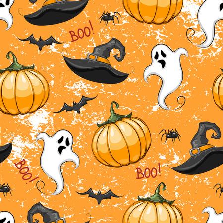 Halloween seamless pattern with ghost, pumpkin and wizard hat on dark orange background. Ilustração