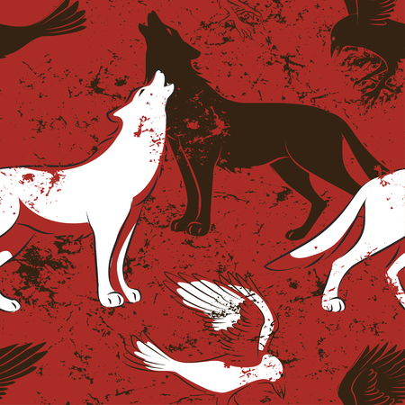 Halloween seamless pattern with raven bird and wolf on red background. Illustration
