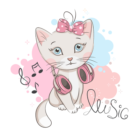 Illustration of cute kitten with headphones on white background.