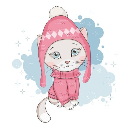 Cute kitten is wearing a knitted hat and sweater with ornament on white background. Illustration