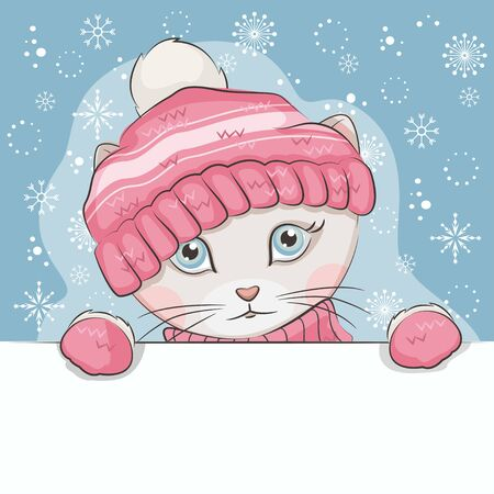 Cute kitten is wearing a knitted hat and mittens with ornament.