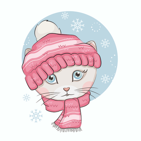 Cute kitten is wearing a knitted hat and scarf on white background. Illustration